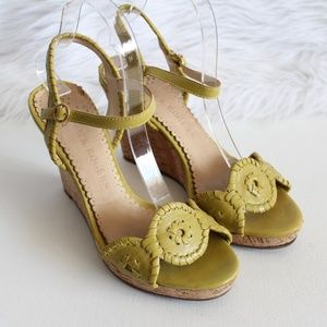 Jack Rogers Green Cork Wedge Sandals